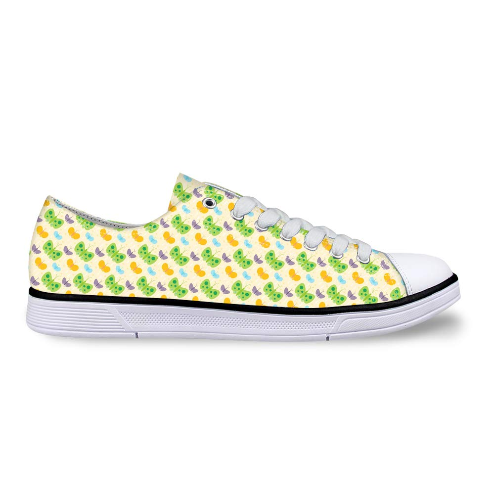 Canvas Low Top Sneaker Casual Skate Shoe Mens Womens Colorful Butterflies