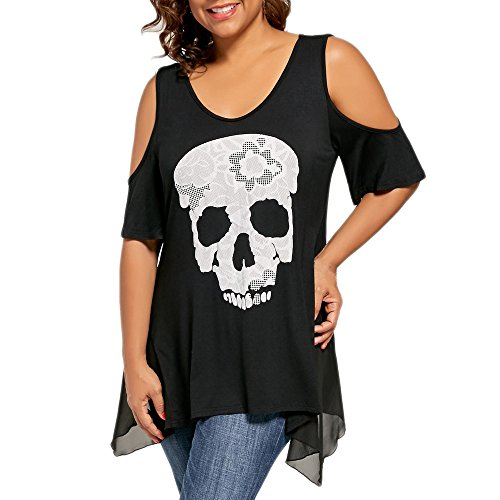 TUSANG Womens Casual Plus Size Skull Off Print Shoulder T-Shirt Tops Blouse Cut Out Loose Fit Tunic(Black,US-16/CN-4XL)
