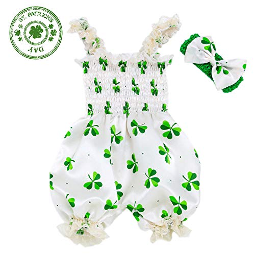 (XMCOSOCS Baby Girls Shamrocks Bodysuit-St. Patrick's Day Lace Satin Romper Bloomers with Headband Baby Shower Clothes Birthday Gift, M (0-6 Month))