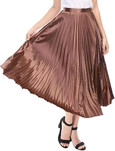 [해외]알레그라 K 여성용 지퍼 클로저 아코디언 플리츠 메탈릭 미디어 파티 스커트/Allegra K Women`s Zip Closure Accordion Pleated Metallic Midi Party Skirt