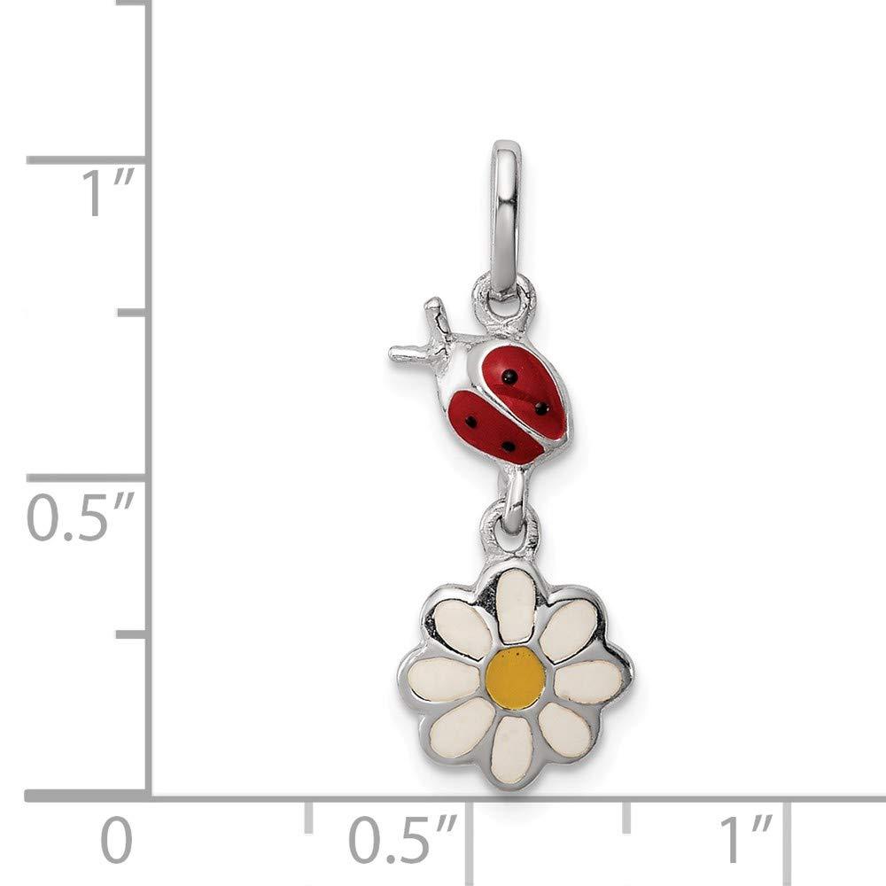 Jewel Tie Sterling Silver Rhodium Plated Child Enamel Ladybug Daisy Pendant