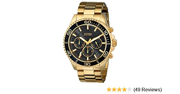 Amazon.com: GUESS Mens U0170G2 Sporty Black Dial Gold-Tone Chronograph Watch: Guess: Watches