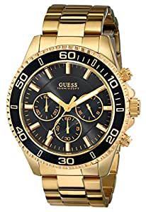 GUESS Men's U0170G2  Sporty Black Dial Gold-Tone Chronograph Watch