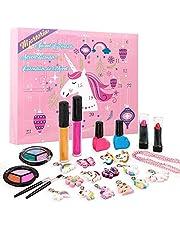 MJARTORIA Adventskalender voor meisjes, 2021, beauty make-up kerstkalender voor tienermeisjes, 24 verrassingen, verrassingspakket met kosmetisch eenhoorn bedeltjes ketting armband