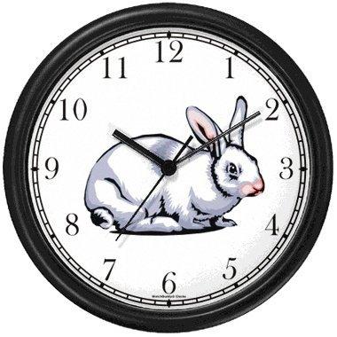 Amazon Com White Rabbit Or Bunny Animal Wall Clock By Watchbuddy