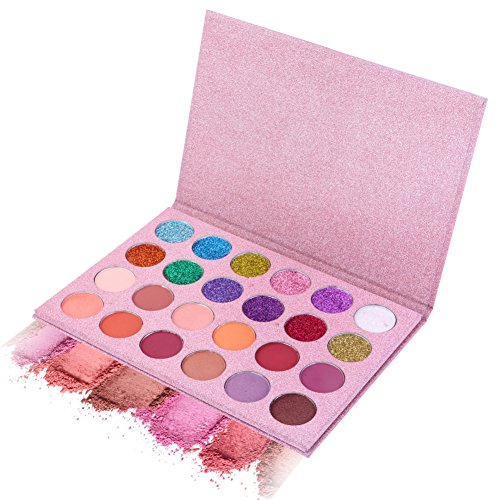 SUNTRIC 24 Color Highly Pigmented Diamond Glitter Matte Eye Shadow Palette Flash Shimmer Eyeshadow Make Up Palette