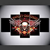 [LARGE] Premium Quality Canvas Printed Wall Art Poster 5 Pieces / 5 Pannel Wall Decor harley davidson skull logo Painting, Home Decor Pictures - With Wooden Frame