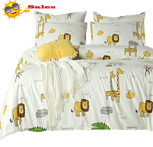 - Queen's House Kids Duvet Cover Set Cute Giraffe Lion Elephant Animal Print Bedding for Kids Cotton Twin Size-C