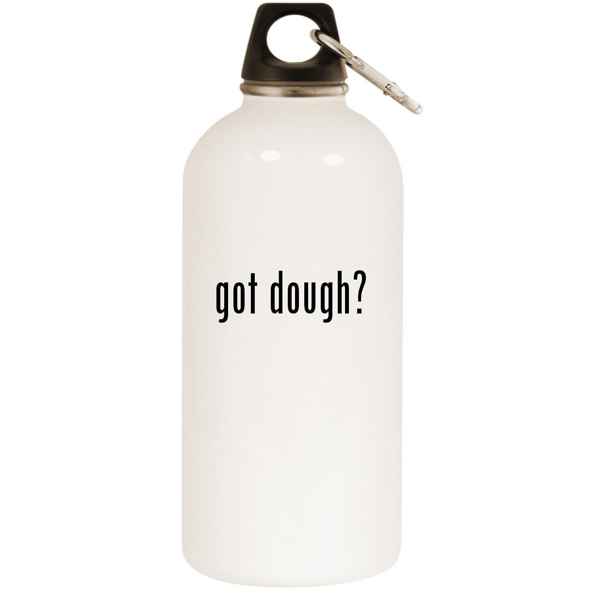 Got Dough  – ホワイト20ozステンレススチールウォーターボトルカラビナ B0741G4XBC