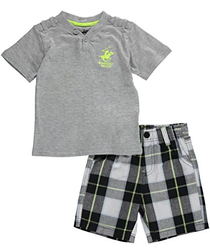 """Beverly Hills Polo Club Baby Boys' """"Doubs"""" 2-Piece Outfit - gray, 12 months"""