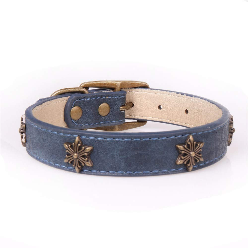 bluee 2.5×35-45cm Lindou Pet collar Pet collar creative star decoration in large dog collar,black,2.0×29-36cm (color   bluee 2.5×35-45cm)