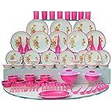Joyo Plastic Dinner Set, 84-Pieces, Pink