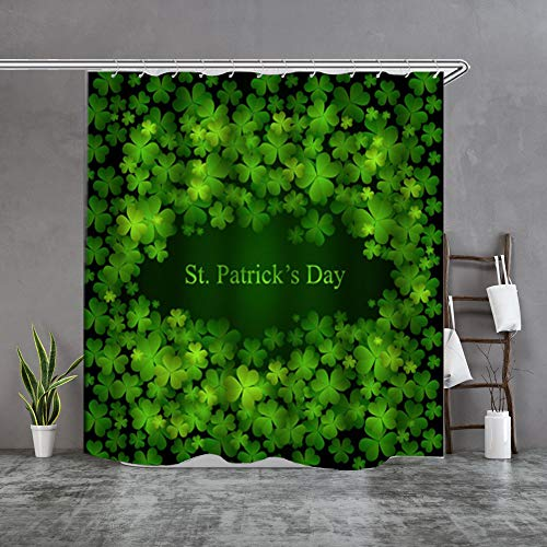 Maxwelly St Patricks Shower Curtain Shamrock/Clover Bathroom Shower Curtain with Hooks for Home Decoration - Green - 72-Inch by 72-Inch