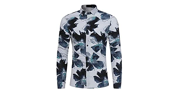 Ptyhk RG Mens Casual Autumn Slim Long Sleeve Floral Print Button Shirt Tops