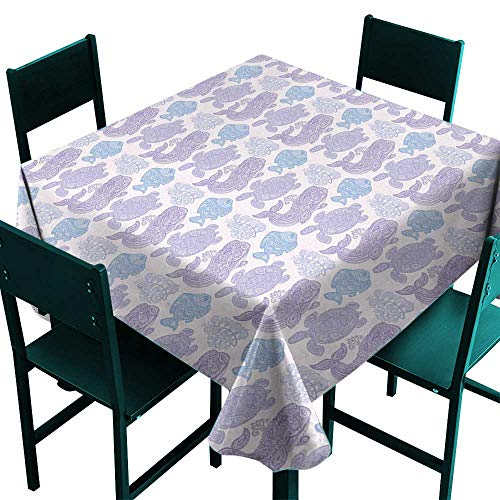 (Warm Family Whale Polyester tableclothSea Turtle Water Plant and Fish in Doodle Style with Paisley Mehndi Motifs Indoor Outdoor Camping Picnic D63)