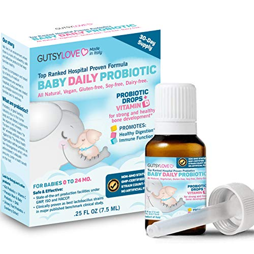 Baby Probiotics and Vitamin D Drops: Europe's Top Daily Infant Probiotic for Babies, Kids, Toddler, Newborn. Reuteri, Rhamnosus for Colic, Gas, Constipation, Eczema. No Dairy, Gluten, Soy | GutsyLove