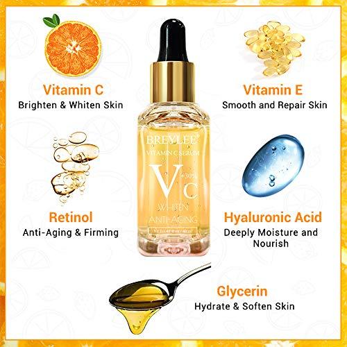 513dl0ROPKL - Vitamin C Serum, BREYLEE Anti-Aging Facial Serum with Hyaluronic Acid, Retinol, and Vitamin E Moisturizing Face Serum for Skin Whiten Skin Brighten, Fades Sun Spots (40ml, 1.41oz)