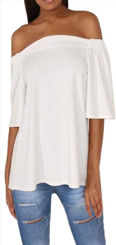 Mujer Tshirt Elegantes Moda Irregular Festival Asimetricos Cola De de Moda Golondrina Tunicas Mangas 3/4 Barco Cuello Fuera del Hombro Anchas Casuales Colores Sólidos Verano Camisas Tops Blusa: Amazon.es: Ropa y accesorios