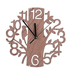 WINOMO Wooden Wall Clock Tree Shaped for House Living Room Decoration