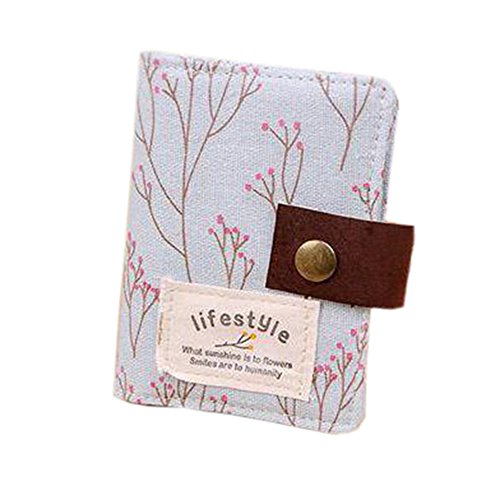 Polytree Women's Floral 20 Slots Business Card Case (Blue)