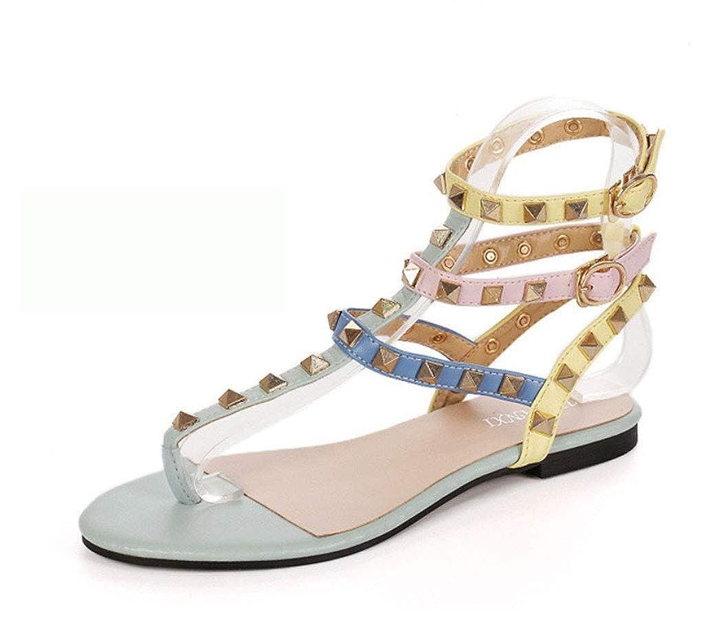 Sandali da Donna, Coordinati in Stile Europeo e Americano. Rivetti Scarpe Basse con Un'Altezza di 1,5 cm