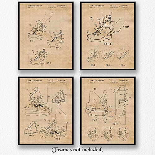 Original Nike Back 2 the Future Self Lacing Shoe Patent Art Poster Prints - Set of 4 (Four 8x10) Unframed Pictures - Great Wall Art Decor Gift for Home, Office, -