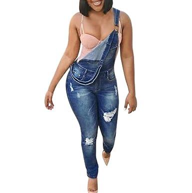 huge selection of 1f296 25a8e Latzhose FORH Damen Klassisch Vintage Latzhose Jeans Sexy Röhrenjeans  Bodycon Strap Jeans Fashion Taschen Denim Jeans Stretch Hosen Casual Sommer  ...