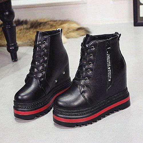 Btrada Casual Da Donna High-top Casual Sneaker Con Fondo Alto Con Lacci Alti Stivali Nascosti Neri