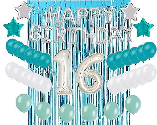 16th Birthday Decorations Turquoise Tiffany Blue Party Balloons Sweet 16 Sixteenth Supplies 40