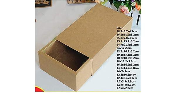 XLPD Caja de cajones de Embalaje marrón de 22 tamaños para Regalo, Zapatos de Papel Kraft Ropa joyería corredera Cajas de Regalo Caja de Almacenamiento Plegable: Amazon.es: Hogar