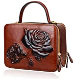 PIJUSHI Designer Floral Handbags For Women Top Handle Satchel Bags Crossbody Handbag (65440 New Brown)