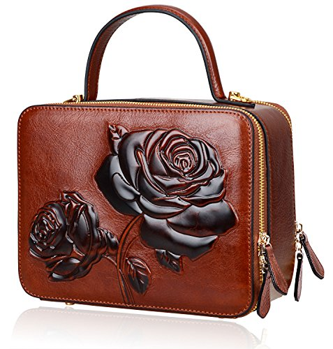 PIJUSHI Women's Designer Rose Top Handle Satchel Cross Body Handbags 65440 (One Size, New Brown) (Designer Handbags New)
