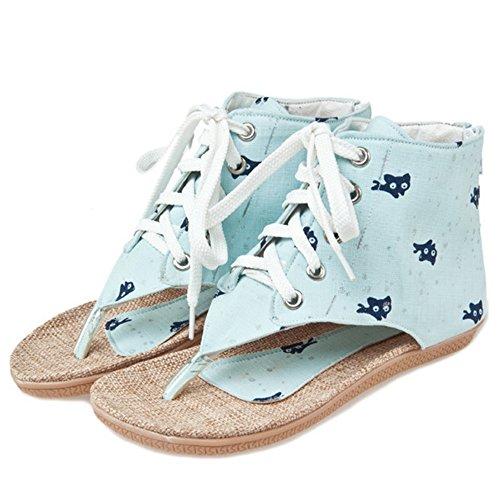 Ete Toe Chaussures Mode 764 Clip Sandales Bottillons Bleu Lacets TAOFFEN Femmes Plat XzqHv8