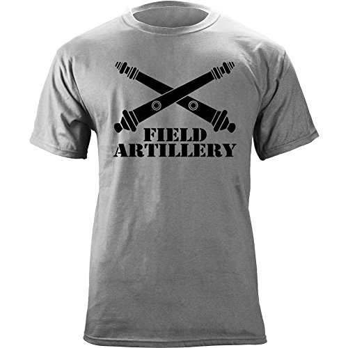 Army Field Artillery Branch Insignia Crossed Cannons Veteran Graphic T-Shirt (XL, Heather Grey) (Field Artillery Branch)