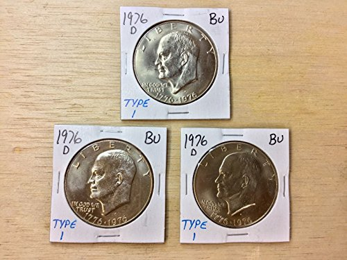 Genuine ~Three 1976-DBU Type 1 Eisenhower Dollars LOT#D089