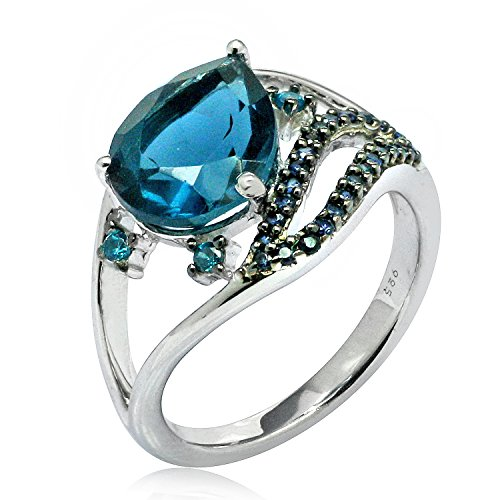 2.50 Ct. Round Blue Nano & Pear Shape Pink Sapphire Gemstone Ring In 925 Sterling Silver For Women