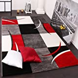 Paco Home Designer Carpet With Contour Cut Chequered In Red And Black, Size:120x170 cm