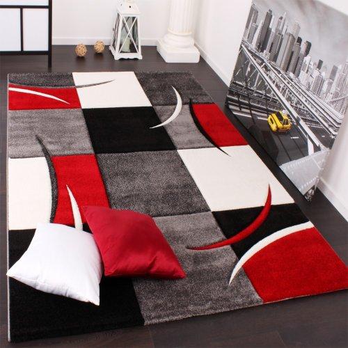 Paco Home Alfombra De Diseño Perfilado – A Cuadros En Rojo Negro, tamaño:300×400 cm