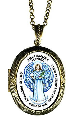 Archangel Haniel Gift of Prophecy Grace of God Xl Solid Perfume Locket Pendant Gold Bronze (Glass Arch Keepsake)