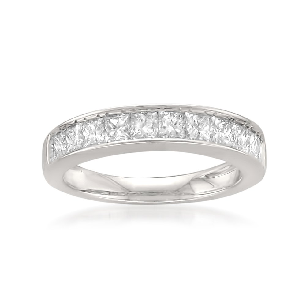 14k White Gold Princess-cut 11-Stone Diamond Bridal Wedding Band Ring (1 cttw, J-K, SI1-SI2), Size 8.5
