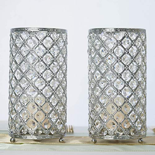 "Efavormart 2 Pack 9"" Tall Metallic Silver Crystal Beaded Pillar Votive Candle Holder Wedding Centerpiece for Wedding Events"