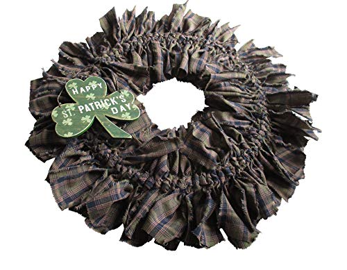 From The Attic Crafts St Patrick's Day Wreath - Happy St Patrick's Day- Shamrock Rag Wreath]()