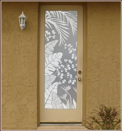 Wallpaper for Windows Tropical Oasis Etched Glass Privacy Design 24 in. x 96 in. Left Decorative Window Film