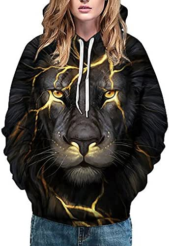 Unisex 3D Printed Wolf Pullover Sweatshirt with Pockets Long Sleeve Hooded Jumper Tops Blouse Outerwear Tunic