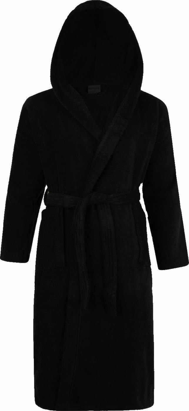 Adore Home 100% Cotton Terry Towelling Hooded Shawl Collar Black Bathrobe Robe Dressing Gown
