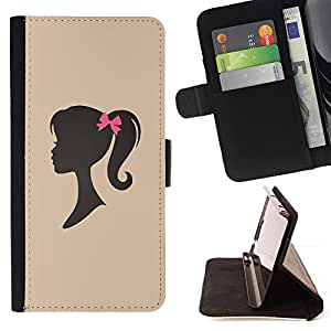 Girl Silhouette Bow Pink Hairdresser Beige - Painting Art Smile Face Style Design PU Leather Flip Stand Case Cover FOR HTC DESIRE 816 @ The Smurfs
