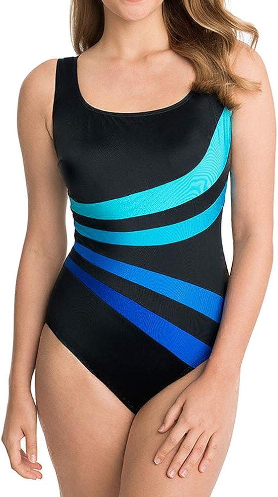 Longitude Womens Swimwear Robby Len Colorblock Covered Fan Long Torso Tummy Control One Piece Swimsuit