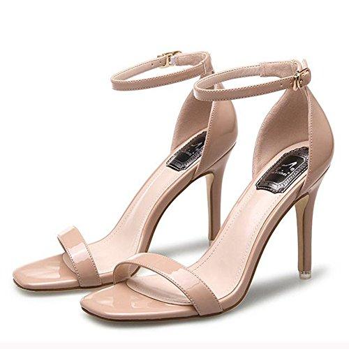 Beige Travail Chaussure Inconnu Bride Chaussure Bout Cheville Talons Hauts Carré Sandales Femme Mode 35 Vernie BqxAqpOvw