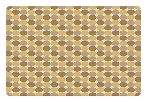 - Lunarable Beige Pet Mat for Food and Water, Simplistic Pattern of Several Brown Tone Circles for Geometric Vintage Style Print, Rectangle Non-Slip Rubber Mat for Dogs and Cats, Multicolor