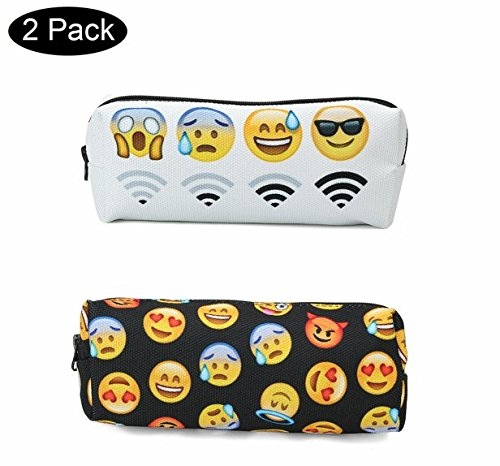 Caveen Emoji Pencil Pen Case Pouch Bag with Zipper for Girls, Kids,School Student Stationery Office Supplies Pack of 2 Black and White